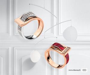 Bague Clozeau or rose et diamants