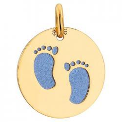 Médaille empreintes bébé or & acier